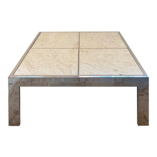 Pace Collection Mid Century Modern Chrome & Marble Coffee Table For Sale
