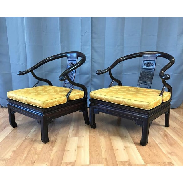 Chinese Rosewood Horseshoe Chow Chairs, 1920s - A Pair For Sale - Image 5 of 10