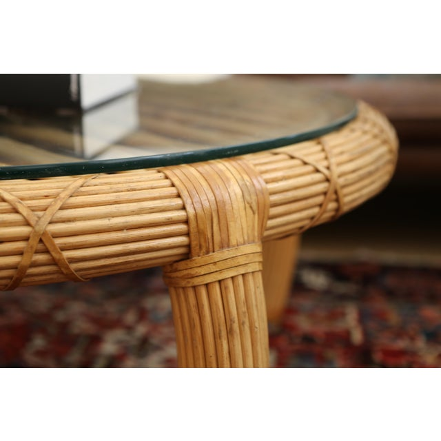 Gabriella Crespi Style Rattan & Bamboo Pencil Reed Coffee Table - Image 6 of 10
