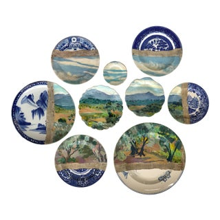 """""""Olive Grove St. Paul"""" Contemporary Installation of Ceramic Plates and Oil on Canvas - Set of 9"""