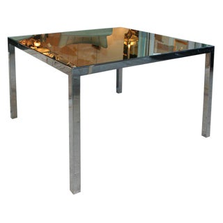 Mid Century Modern Square Dining Table w/ Rectangular Chrome Legs & Mirrored Top For Sale
