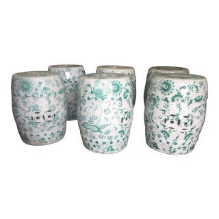 Asian Garden Drum Stools Green & White - Set of 6 For Sale