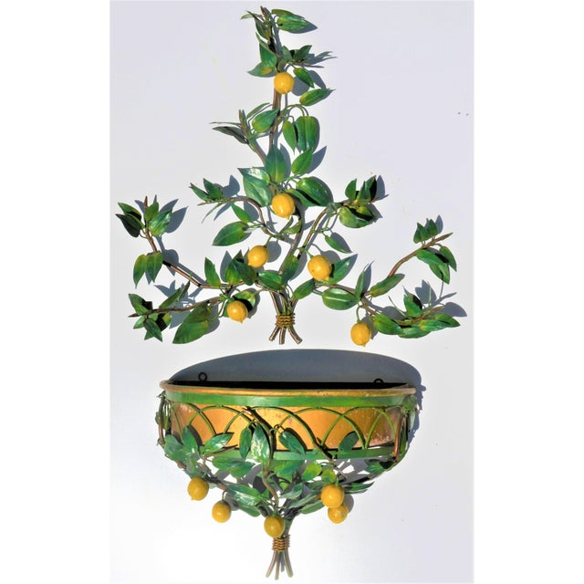 Boho Chic Vintage Italian Tole Lemon Tree Wall Sconce With Planter For Sale - Image 3 of 10