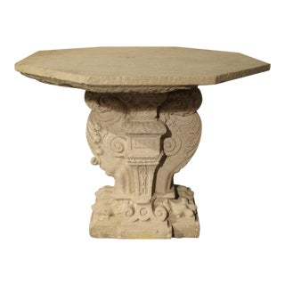 Rare Period Renaissance Carved Stone Table from the South of France, 1570