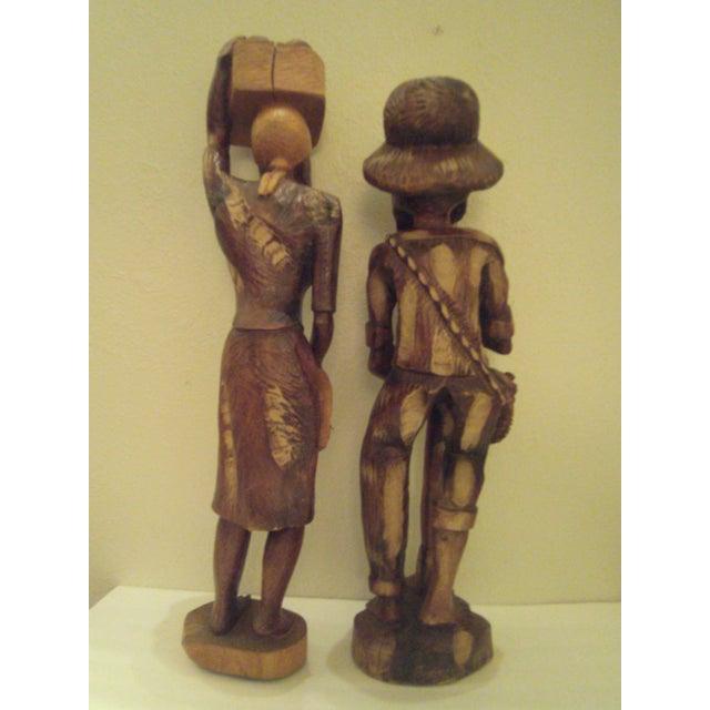 Vintage Wooden Carved Figures - Pair - Image 5 of 11