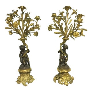 19th Century French Ormolu and Bronze Figural Candelabrums - a Pair For Sale