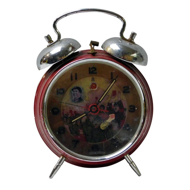 Old Chinese Round Shape Table Clock With Chairman Mao Painting For Sale