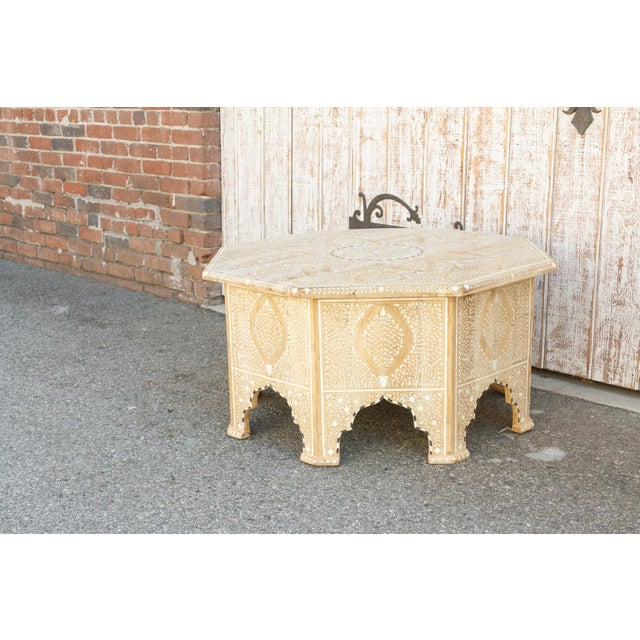 Charming Anglo Indian Farmhouse Lotus Inlaid Coffee Table For Sale - Image 12 of 13