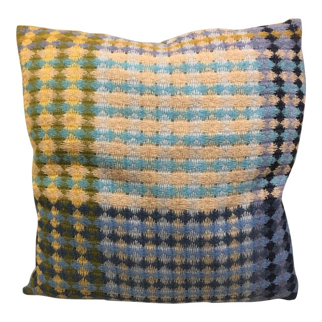 Missoni Blue & Yellow Wool Pillow - Image 1 of 6