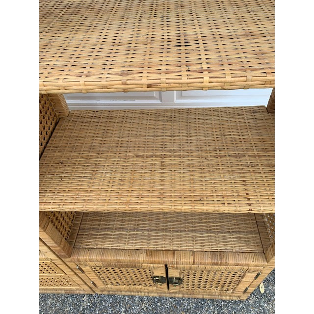 Gold 1970's Bielecky Style Rattan and Brass Bookshelves-Set of 3 For Sale - Image 8 of 13