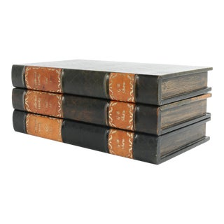 Maitland-Smith Decorative Leather Book Storage Stash Box For Sale