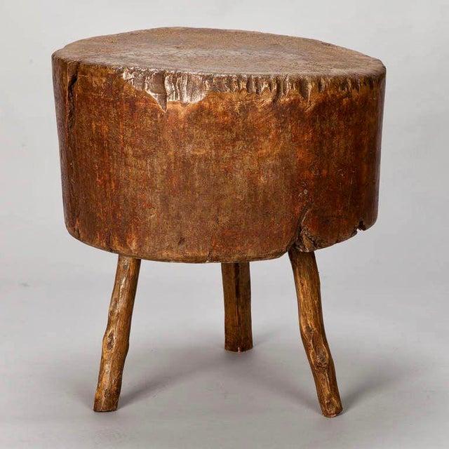 19th Century Primitive Round Butcher Block Table - Image 5 of 8
