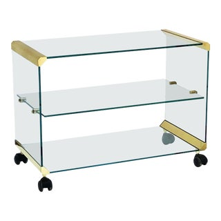 Italian Three-Tier Drinks Cart of Brass and Glass by Gallotti & Radice For Sale