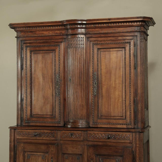 Late 18th Century 18th Century Country French Walnut Louis XVI Buffet a Deux Corps For Sale - Image 5 of 13