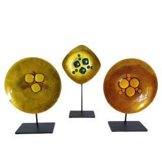 Set of 3 Modernist Enamel Plates by Annemarie Davidson