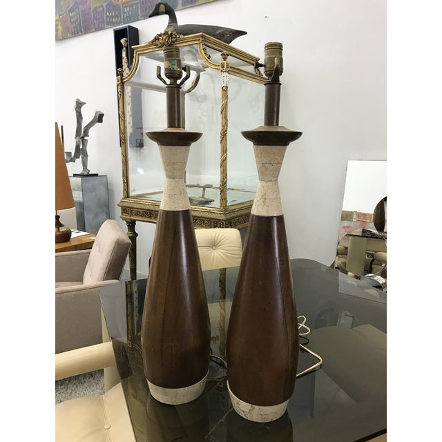 1970s Wood and Travertine Lamps - a Pair For Sale In Miami - Image 6 of 8