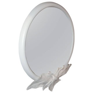 1980s White Lacquered Floral Oval Mirror For Sale