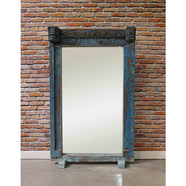 Turquoise Vintage Floor Mirror - Image 2 of 5