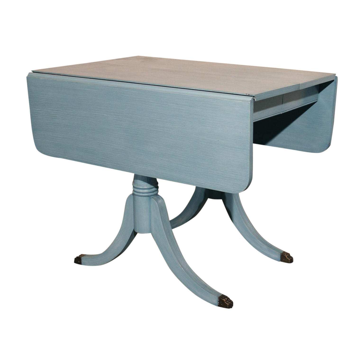 Shabby Chic Pale Blue Dining Table | Chairish