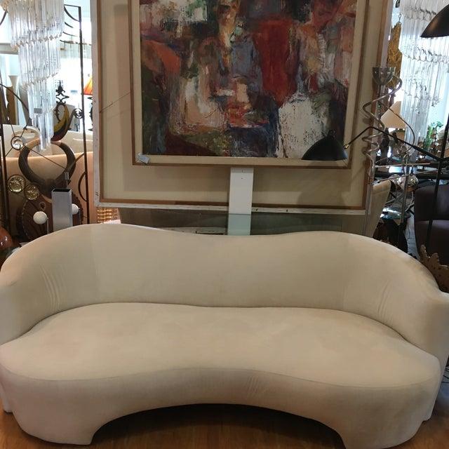 Beautifully designed modern in the style of Vladimir Kagan. Cream, light color sofa vintage 1980s. New upholstery velvet...