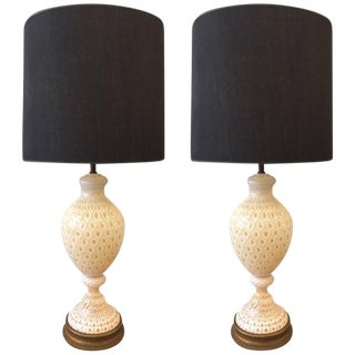 Pair of Large Murano Lamps by Seguso For Sale