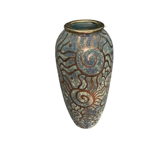 1980s Art Pottery vase in sage green and gold.