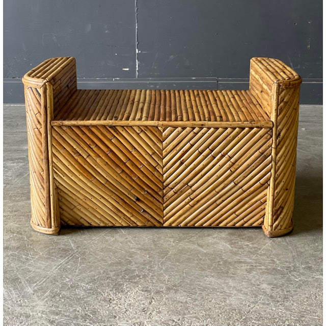 Outrageous Vintage Bamboo Club Chair and Ottoman For Sale - Image 9 of 12