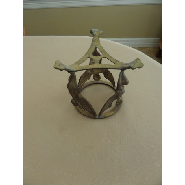 Brass Vintage Solid Brass Display Stand With 3 Cherubs, Loin's Feet and Braided Round Top For Sale - Image 7 of 8