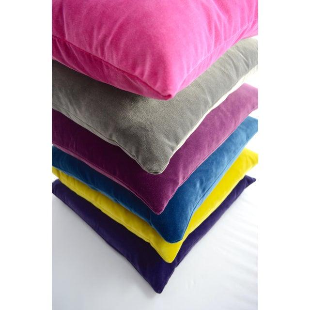 FirmaMenta Italian Solid Burgundy Velvet Pillow For Sale - Image 4 of 6