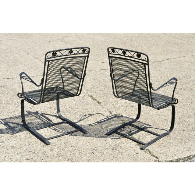 Russell Woodard Vintage Mid Century oodard Wrought Iron Patio Bouncer Lounge Arm Chairs- A Pair For Sale - Image 4 of 12