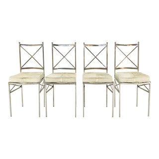 Set of 8 Mid-Century Swedish Polished Steel Dining Chairs With Custom Ivory Cowhide Cushions For Sale