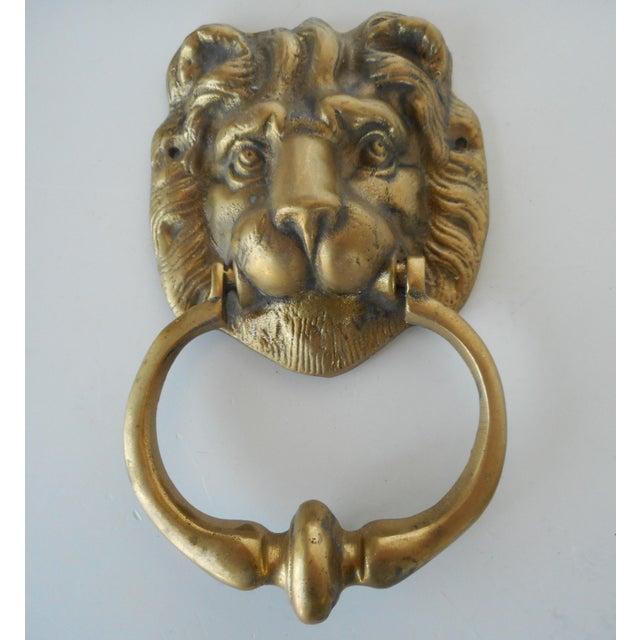 Vintage Brass Lion Head Door Knocker - Image 2 of 8 - Vintage Brass Lion Head Door Knocker Chairish