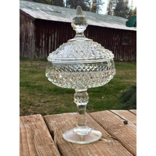Indiana Glass Company Vintage Indiana Glass Diamond Point Candy Dish For Sale - Image 4 of 4