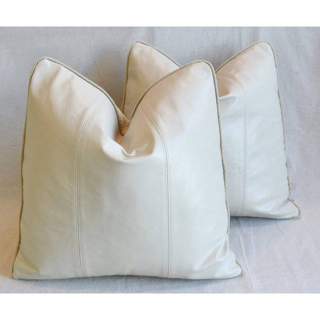 """Creamy Italian Tanned Leather Feather/Down Pillows 21"""" Square - Pair For Sale - Image 12 of 13"""