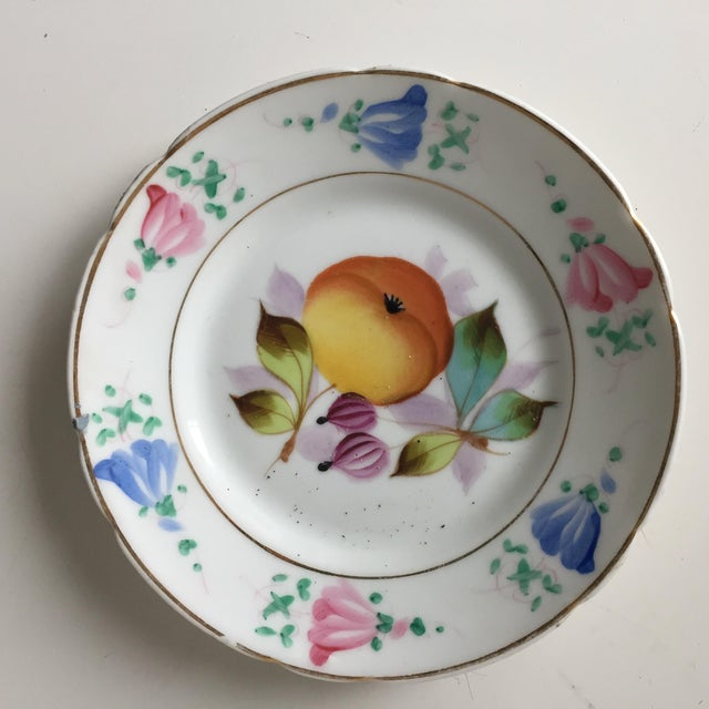 Late 19th Century 4 Antique French Porcelain Hand-Painted Fruit Plates For Sale - Image 5 of 10