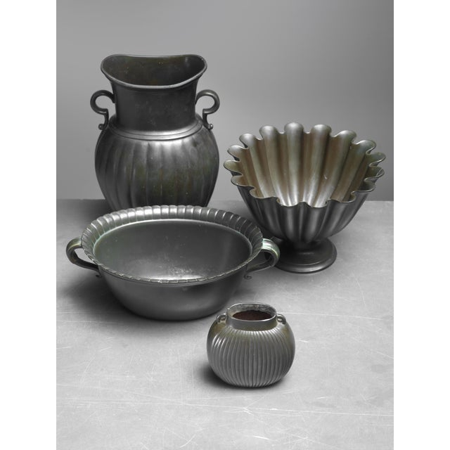 Mid-Century Modern Just Andersen set of four metal pieces Denmark, 1930s For Sale - Image 3 of 3
