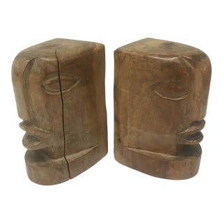 Vintage Hand Carved Bookends, a Pair For Sale
