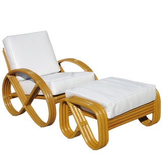 Round Pretzel Arm Rattan Lounge Chair For Sale