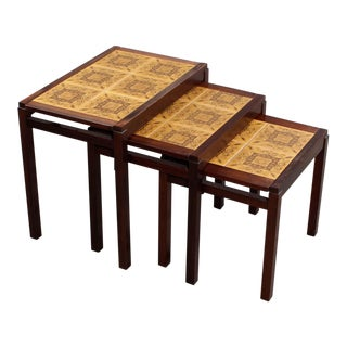 1960s Danish Modern Rosewood and Ceramic Tile Nesting Tables - Set of 3 For Sale