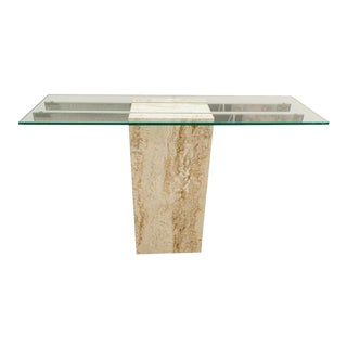 Console Table in Travertine Marble, Glass and Chrome 1970s Modern For Sale