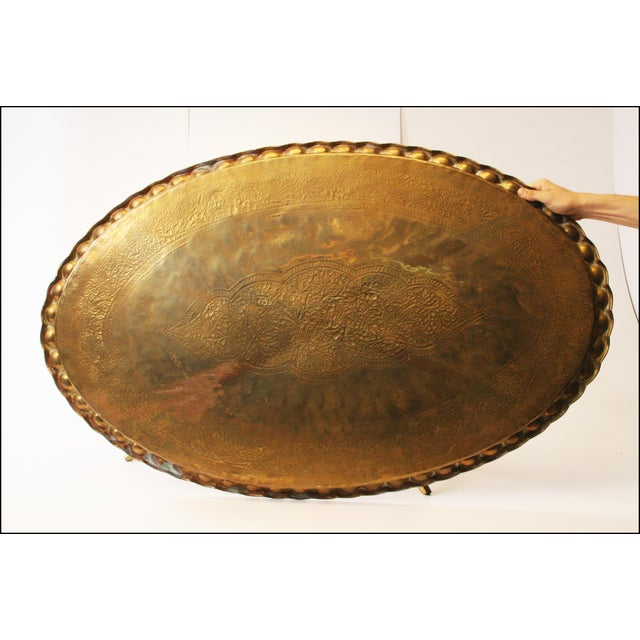 Vintage Moroccan Coffee Table with Brass Charger Top - Image 10 of 11