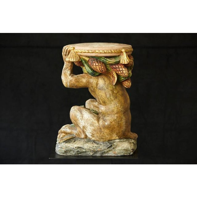 Early 20th Century Carved Wood and Painted Plaster Side Table Showing a Monkey For Sale - Image 4 of 10