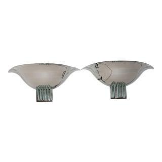 Vintage Art Deco Revival Karl Springer Style Sconces Nickel - a Pair For Sale