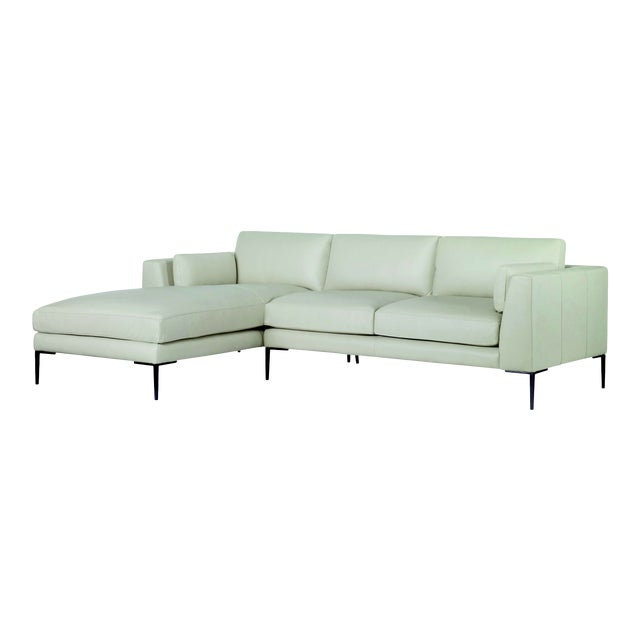 Century Furniture Evandale Two Piece Sectional, Dove Leather For Sale