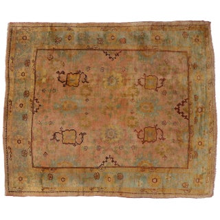 Antique Turkish Oushak Area Rug with Modern Style in Time Softened Colors Preview