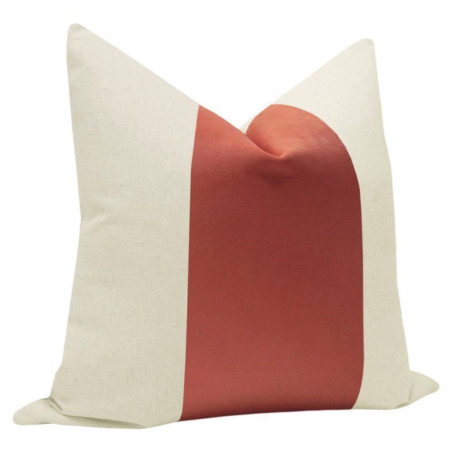"""Contemporary 22"""" Coral Velvet Panel & Linen Pillows - a Pair For Sale - Image 3 of 6"""