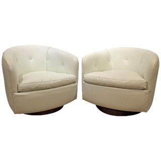 Pair of Mid-Century Danish Modern Milo Baughman Swivel Club Chairs