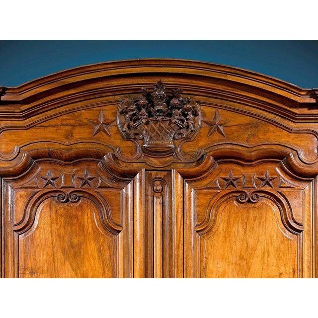 French Provincial French Provincial Walnut Armoire For Sale - Image 3 of 5