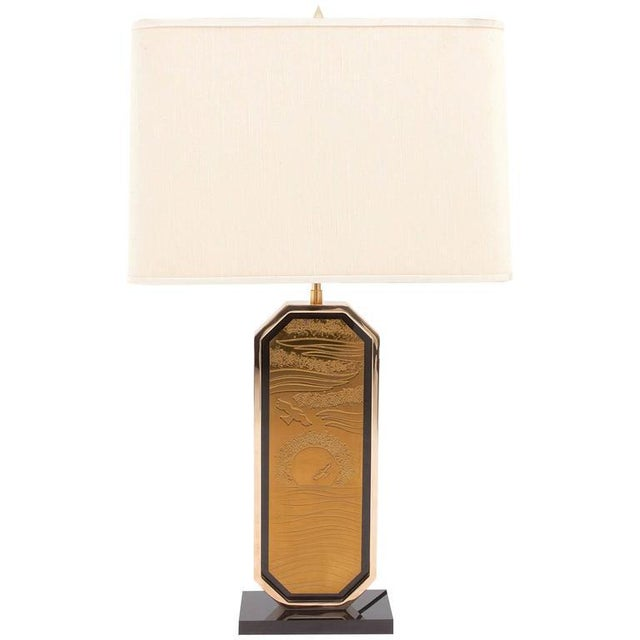 Gold-Plated Brass Etched Table Lamp For Sale - Image 10 of 10