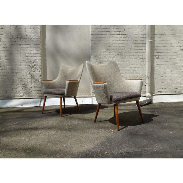 This pair of Mid-Century Danish easy chairs from 1961 were designed by Mogens Koch for Carl Hansen & Son and are model no. 2.
